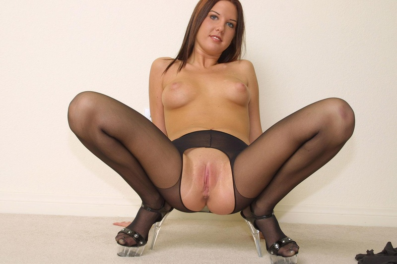 Samantha bentley with open pussy wearing crotchless pantyhose
